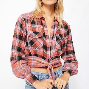 NWT We the Free First Bloom Plaid Top Size Small